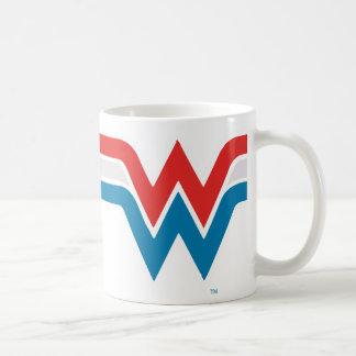 Logotipo blanco de la Mujer Maravilla y azul rojo Taza De Café