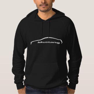 Logotipo blanco de la silueta del mustango sudaderas con capucha