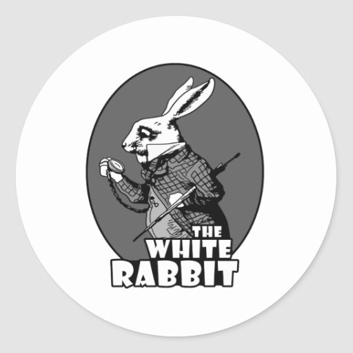 Logotipo blanco del conejo etiqueta redonda