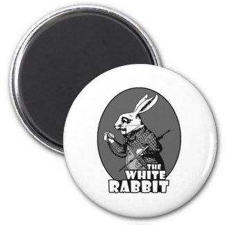 Logotipo blanco del conejo imán de frigorífico