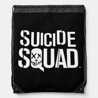 Logotipo blanco del pelotón el | del suicidio mochila