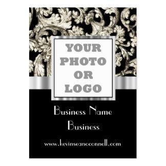 Logotipo blanco y negro de la foto del damasco tarjetas de visita grandes