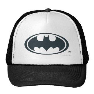 Logotipo blanco y negro del símbolo el | de Batman Gorras