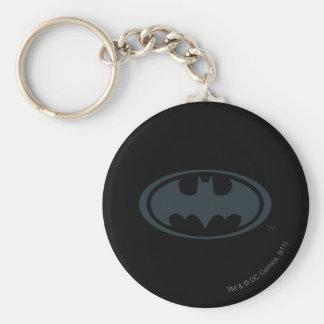 Logotipo blanco y negro del símbolo el | de Batman Llavero Redondo Tipo Pin