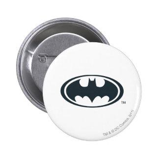 Logotipo blanco y negro del símbolo el   de Batman Pin Redondo De 2 Pulgadas
