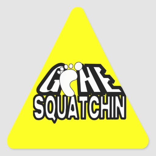 Logotipo blanco y negro ido de Squatchin Pegatinas De Triangulo Personalizadas