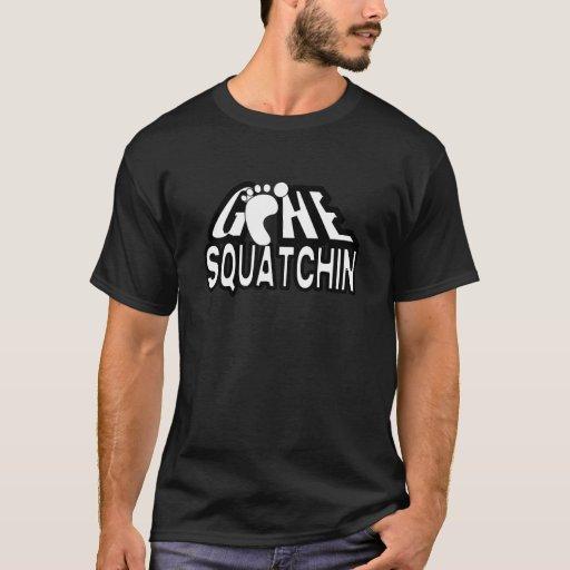 Logotipo blanco y negro ido de Squatchin Playera