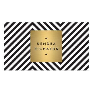 Logotipo blanco y negro retro del nombre del oro d tarjeta de visita