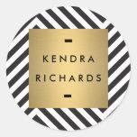 Logotipo blanco y negro retro del nombre del oro pegatina redonda