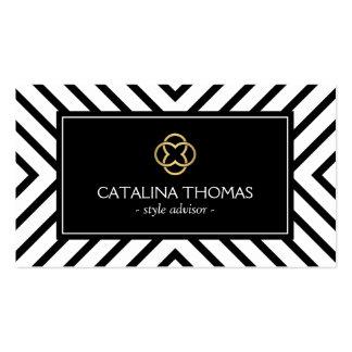 Logotipo blanco y negro retro del trébol del oro tarjetas de visita