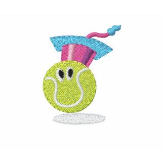 Logotipo bordado sonriente T de la pelota de tenis