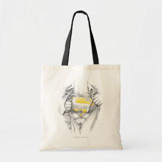 Logotipo bosquejado del superhombre del pecho bolsa tela barata