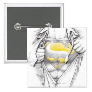 Logotipo bosquejado del superhombre del pecho pin cuadrado