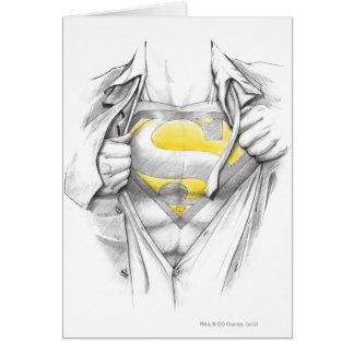 Logotipo bosquejado del superhombre del pecho tarjeta de felicitación