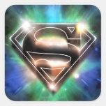 Logotipo brillante del superhombre de la explosión pegatinas cuadradases