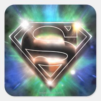 Logotipo brillante del superhombre de la explosión pegatina cuadrada