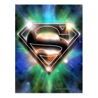 Logotipo brillante del superhombre de la explosión tarjeta postal