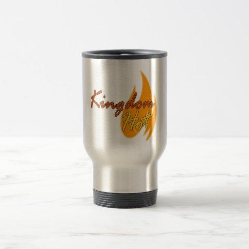 Logotipo caliente del reino taza de café