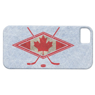 Logotipo canadiense de la bandera del hockey iPhone 5 funda