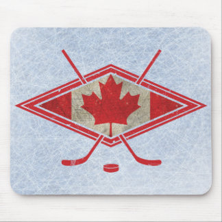 Logotipo canadiense de la bandera del hockey alfombrilla de raton