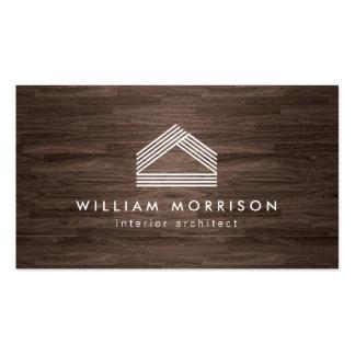 Logotipo casero abstracto moderno en viruta oscura tarjetas de visita