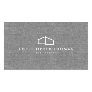 Logotipo casero moderno en el lino para las tarjetas de visita