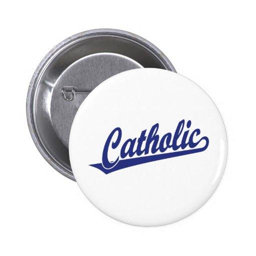 Logotipo católico de la escritura en azul pin redondo de 2 pulgadas