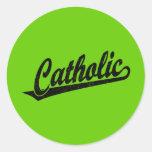 Logotipo católico de la escritura en el negro apen pegatinas