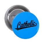 Logotipo católico de la escritura en el negro apen pin