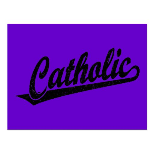 Logotipo católico de la escritura en el negro apen tarjetas postales