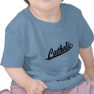 Logotipo católico de la escritura en negro camiseta