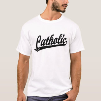 Logotipo católico de la escritura en negro playera
