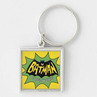 Logotipo clásico de la serie televisiva de Batman Llavero Cuadrado Plateado