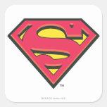 Logotipo clásico del S-Escudo el | del superhombre Pegatina Cuadrada