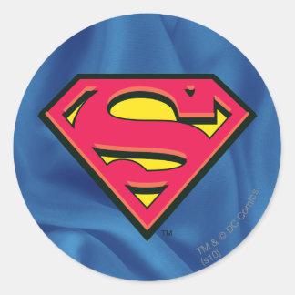 Logotipo clásico del S-Escudo el | del superhombre Pegatina Redonda