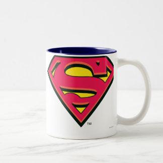 Logotipo clásico del S-Escudo el | del superhombre Taza De Café De Dos Colores
