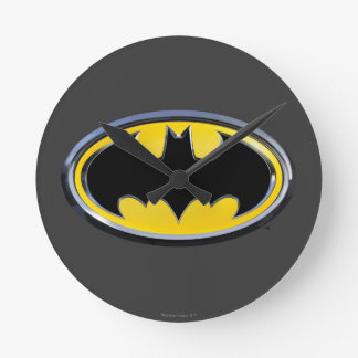 Logotipo clásico del símbolo el | de Batman Reloj Redondo Mediano