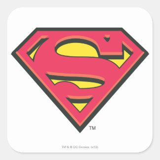 Logotipo clásico del superhombre pegatina cuadrada