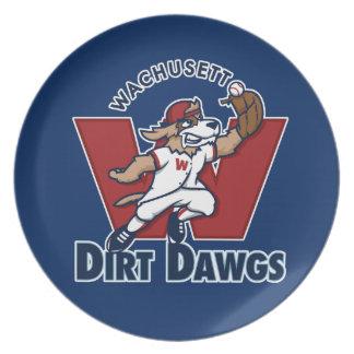 Logotipo colegial del equipo de béisbol de Dawgs Plato