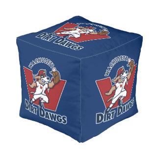 Logotipo colegial del equipo de béisbol de Dawgs Puff Cuadrado