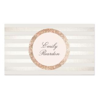 Logotipo color de rosa rayado del rosa de la tarjetas de visita