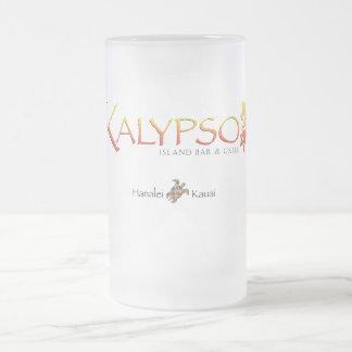 Logotipo colorido de Kalypso con la tortuga de mar Jarra De Cerveza Esmerilada