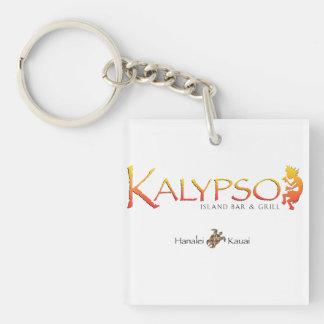 Logotipo colorido de Kalypso con la tortuga de mar Llavero Cuadrado Acrílico A Doble Cara