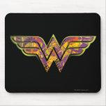 Logotipo colorido de la Mujer Maravilla Tapetes De Ratones