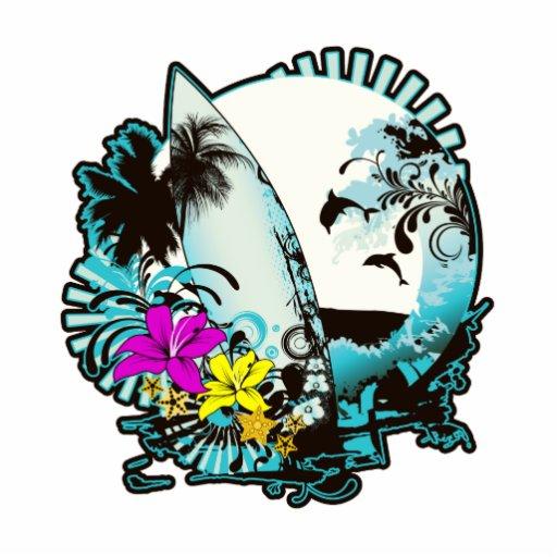 Logotipo colorido de la persona que practica surf escultura fotográfica