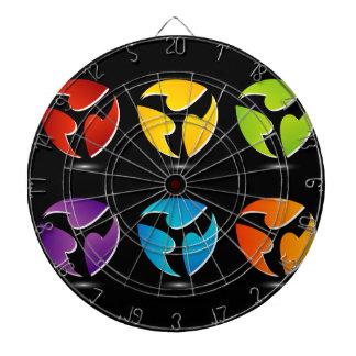 Logotipo colorido de tres lados tabla dardos