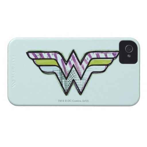 Logotipo colorido del bosquejo de la Mujer iPhone 4 Case-Mate Fundas