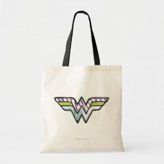 Logotipo colorido del bosquejo de la Mujer Maravil Bolsa Tela Barata
