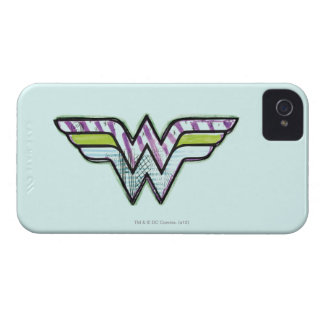 Logotipo colorido del bosquejo de la Mujer Maravil iPhone 4 Case-Mate Cárcasa