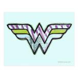 Logotipo colorido del bosquejo de la Mujer Maravil Tarjetas Postales